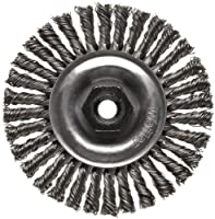 """Weiler Dualife Narrow Face Wire Wheel Brush, Threaded Hole, Steel, Stringer Knotted, 4"""" Diameter, 0.020"""" Wire Diameter, 10-1.25 mm Arbor, 7/8"""" Bristle Length, 3/16"""" Brush Face Width, 20000 rpm"""