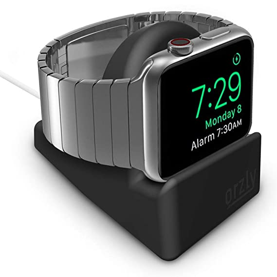 e7379fa7d37 Orzly Compact Stand for Apple Watch - Nightstand Mode Compatible - Black  Support Stand with integrated