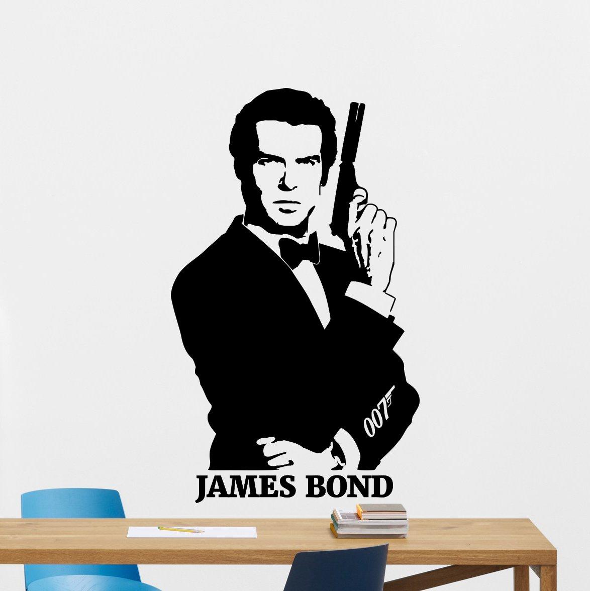 James Bond Wall Decal Pierce Brosnan Agent 007 Vinyl Sticker Spy Movie Wall Art Design Housewares Kids Room Bedroom Decor Removable Wall Mural 67zzz