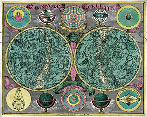 (Old Celestial MAP Planisphaerium coeleste by Tobias Conrad Lotter circa 1772 - measures 24