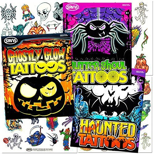 Savvi Halloween Tattoos Party Pack (3 Full-sized Bags ~ Over 140 Temporary Tattoos, Includes Halloween Glow in the Dark Tattoos) (Cat Snake Costume)