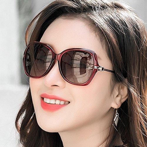 Nuevas Gafas UV para Sol Color Grande Polarizadas Mujer Marrón Gafas Rojo De Montura De LIUXUEPING 1qdwB5ZxZ
