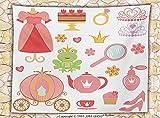 Kids Decor Fleece Throw Blanket Princess Tiara Tea Party Mirror Teapot Tea Party Frog Crown Fairy Cupcake Girls Party Decorations Throw