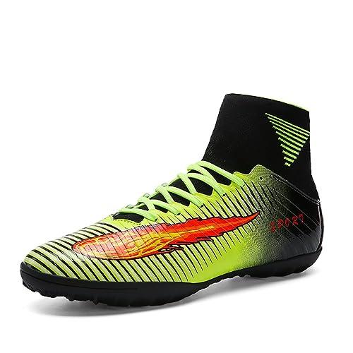 ASHION Botas de fútbol para hombre Botas de microfibra Adolescentes y adultos Profesión Atletismo Turf (