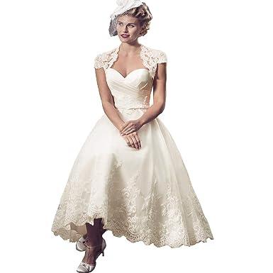 41a42a05380 Bellis Women s Sweetheart Vintage Lace Wedding Dress 2019 Cap Sleeves A  line Tea Length Bridal Wedding