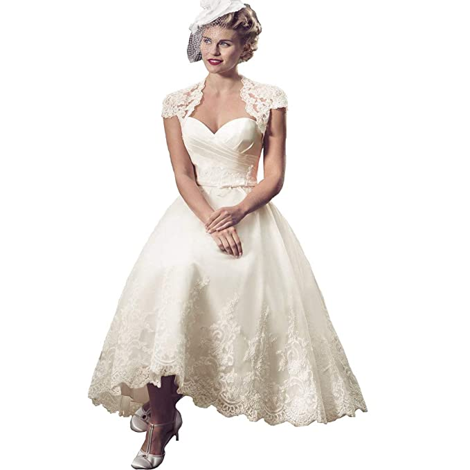 Amazon.com: Bellis B072 - Vestido de novia de encaje para ...
