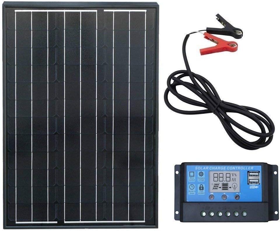 ECOWORTHY Sistema de panel solar monocristalino de 60 W: 1 panel solar mono de 60 W y controlador de carga LCD de 20 amperios y clips de batería con cable de 6 pies