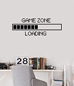 """Vinyl Wall Decal Game Zone Loading Wall Sticker Home Decor Gamer Room Wall Mural Boys Bedroom Decoration Wall Stickers AY1010 (17x48"""", Black)"""