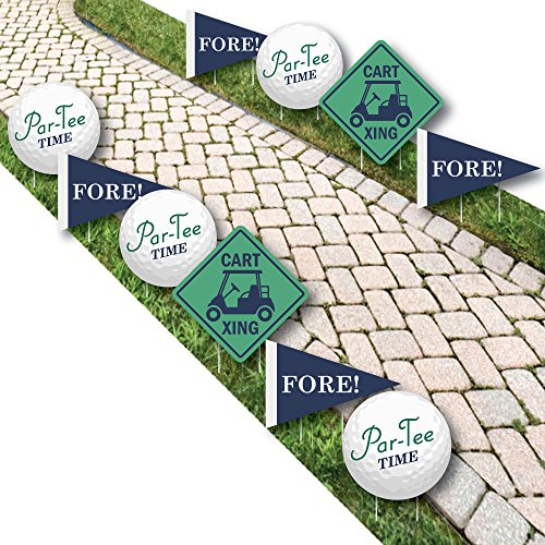 Par-Tee Time - Golf Lawn Decorations - Outdoor Birthday Or Retirement Party Yard Decorations - 10 (Golf Tee Signs)