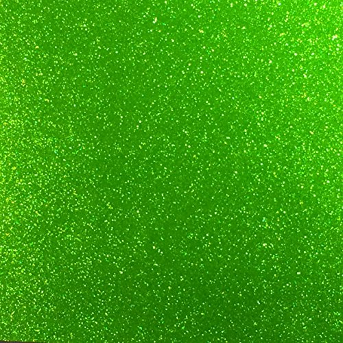 Apple Green Glitter Vinyl 12 by 15 FEET Transparent Glitter Adhesive Roll - for Cricut, Silhouette Cameo, Craft Cutters, and Die Cutters by StyleTech (Green Glitter)