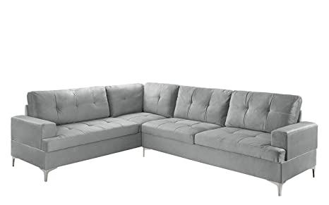 Classic Large Tufted Velvet Sectional Sofa, Living Room L-Shape Couch (Grey)