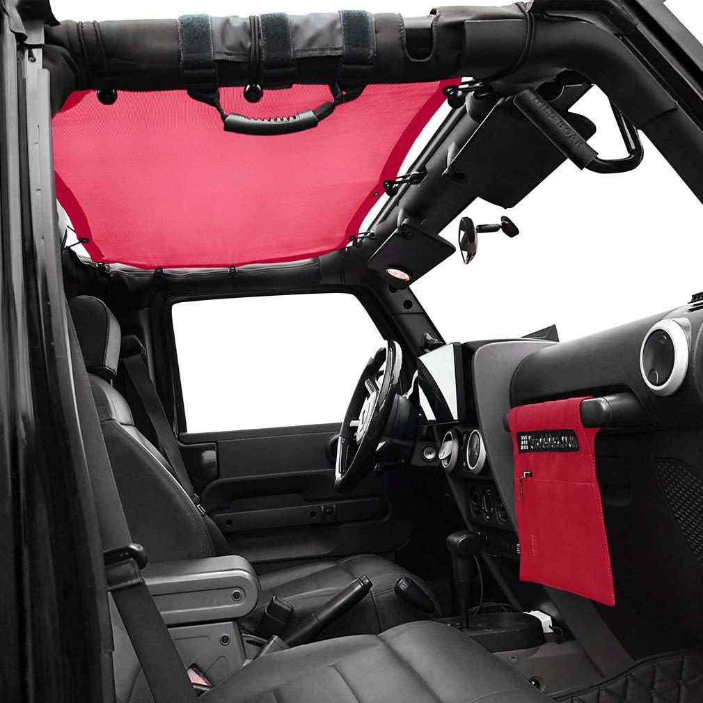 Shadeidea Jeep Wrangler Sun Shade JK Unlimited 4 Door-Orange Mesh Screen Sunshade JKU Top Cover UV Blocker with Grab Bag-One time Install 10 years Warranty