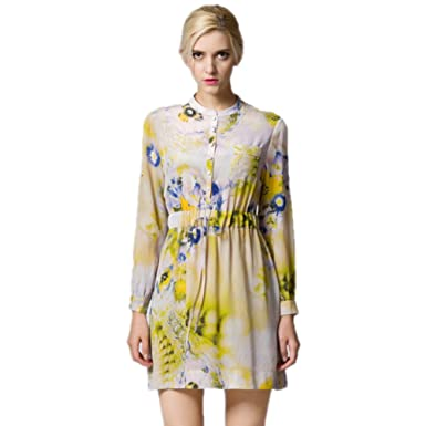 Cotyledon 2018 New Printed Dresses Bright Color Long Sleeve Stand