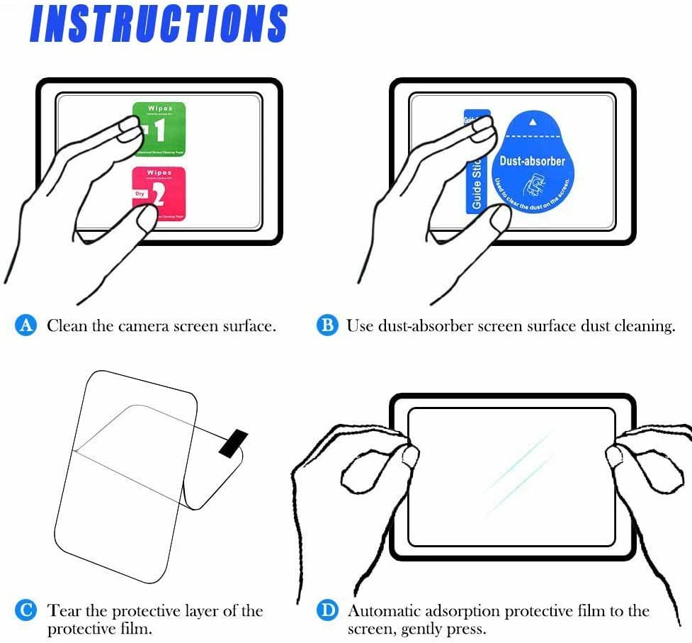 2 Pack Rebel T5 Glass Screen Protector Compatible for Canon Rebel T5// EOS 1200D Digital Camera WH1916 Tempered Glass Cover Bubble-Free Anti-Scratch Anti-Finger for t5