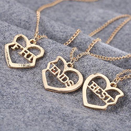 615a00dc5744 Barato Elegant Rose 3 piezas Best Friends Forever BFF plata corazón clave  Colgante Collar Conjunto Amistad