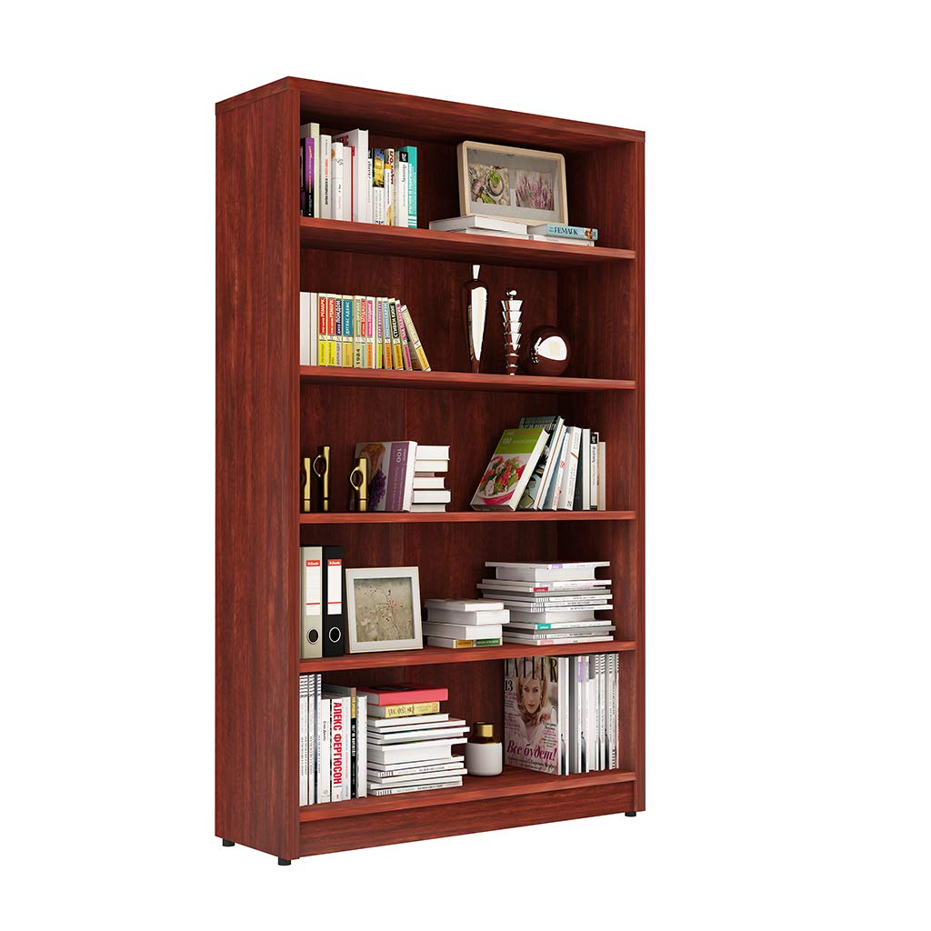 Sunon Collection 5-Shelf Wood Bookcase Freestanding Display Shelf for Home and Office (Cherry)