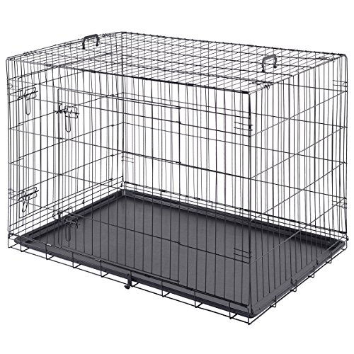 Giantex 48' 2 Doors Wire Folding Pet Crate Dog Cat Cage Suitcase Kennel Playpen w/ Tray (48')