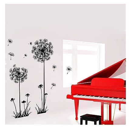 Decoracion de muebles, BaZhaHei, Negro creativo PVC flor de diente de león planta árbol grande extraíble Home Wall Decal S de Adhesivo de pared ...