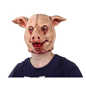 HRTYASKXCH Horror Pig Overhead Animal Mask Látex Pig Mask Disfraz de Halloween Scary Saw Máscara de