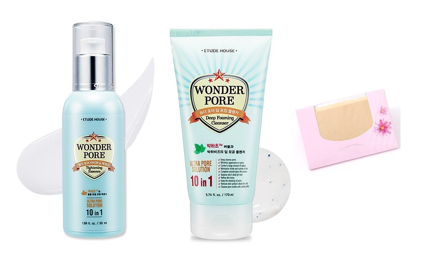Bundle Etude House Wonder Pore Tightening Essence Freshner 500 Ml Deep Foaming Cleanser Soltreebundle Natural Hemp Paper 50pcs