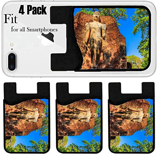 Liili Phone Card holder sleeve/wallet for iPhone Samsung Android and all smartphones with removable microfiber screen cleaner Silicone card Caddy(4 Pack) IMAGE ID 32332776 Ancient City Old town and - La Jolla Town