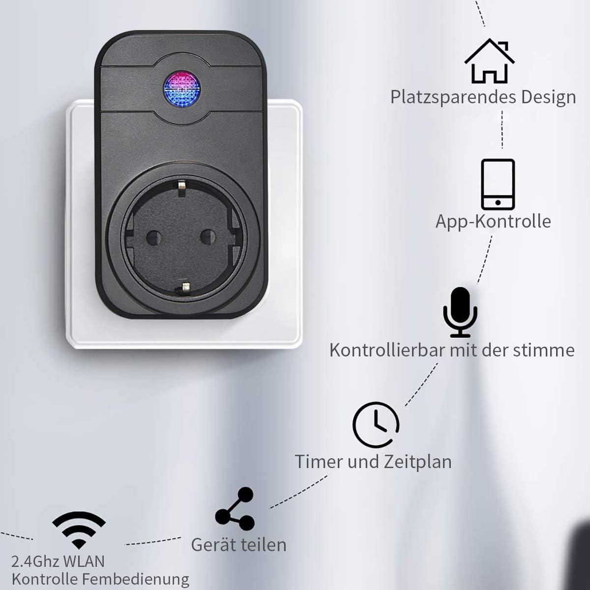 Google Home e IFTTT enchufe wifi SIPAILING control de aplicaci/ón no requiere hub mando a distancia con funci/ón de temporizador Enchufe inteligente WLAN con Alexa