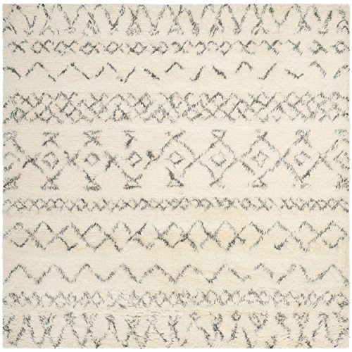 Safavieh Casablanca Shag Collection CSB827B Southwestern Ivory and Grey Premium Wool & Cotton Square Area Rug (6' Square)