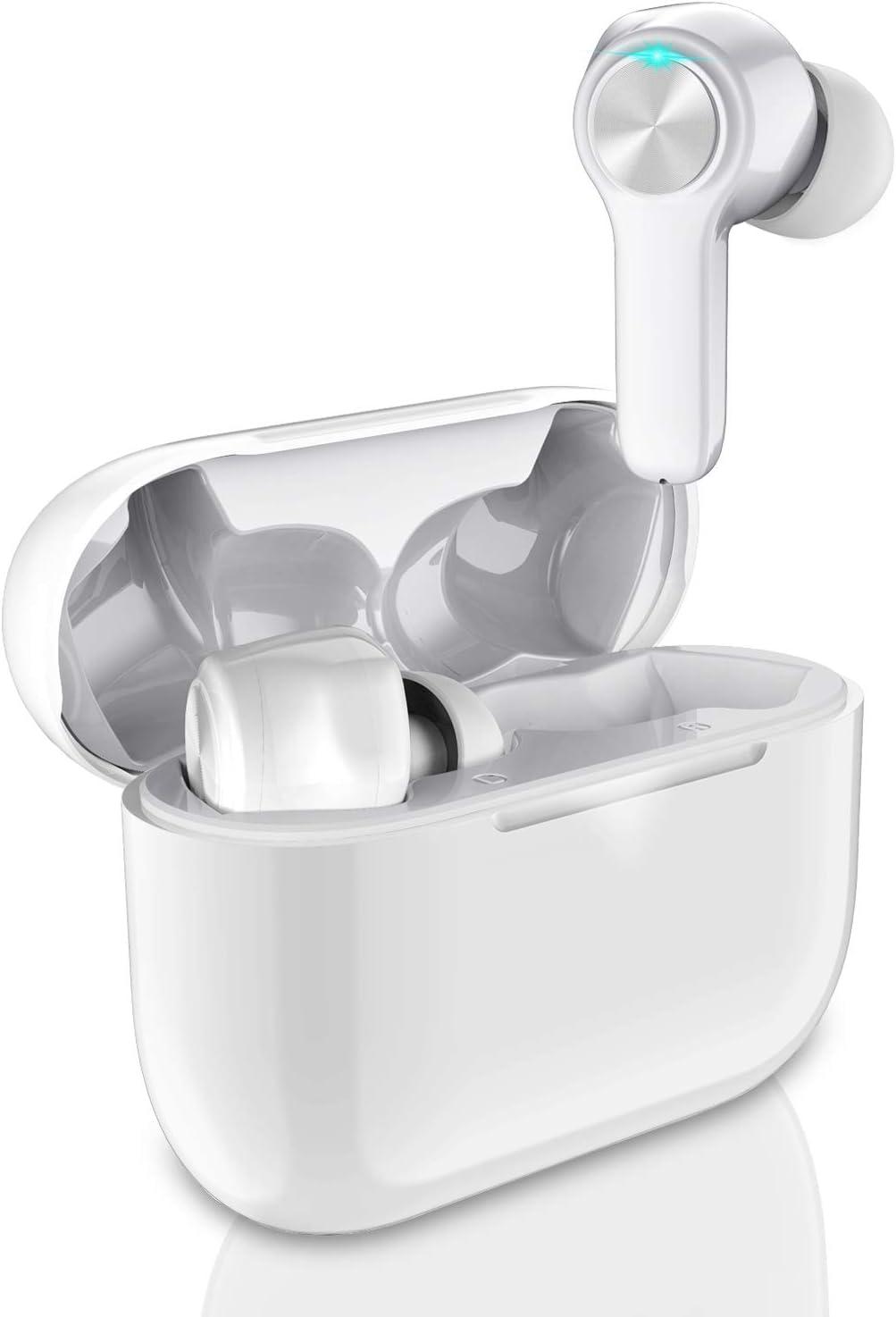 Écouteurs Bluetooth sans Fil, Bluetooth 5.0 Écouteur avect Micro, IPX6 Étanche CVC 8.0 Antibruit Oreillette Bluetooth HD Stéréo, Auto Appariement Sport, 30H Étui de Chargement, Contrôle Tactile