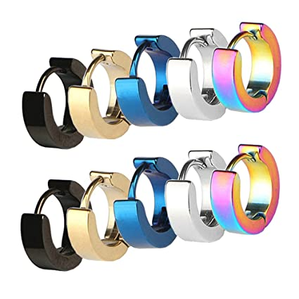 b77a28b82 Image Unavailable. Image not available for. Color: CrazyPiercing Stainless  Steel Mens Womens Hoop Earrings Piercings Huggie Hypoallergenic ...