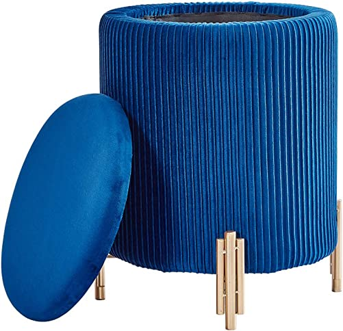 Luxurious Velvet Covered Storage Ottoman Footrest