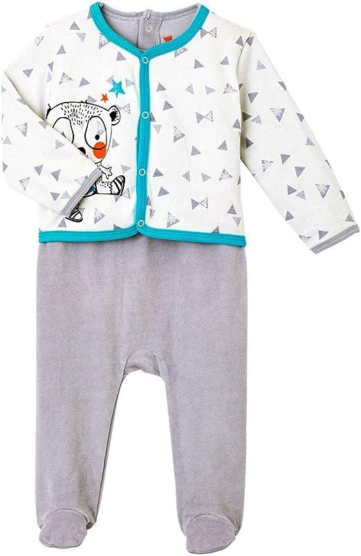 Pyjama b/éb/é velours effet 2 pi/èces Crazy bear 68 cm Taille 6 mois