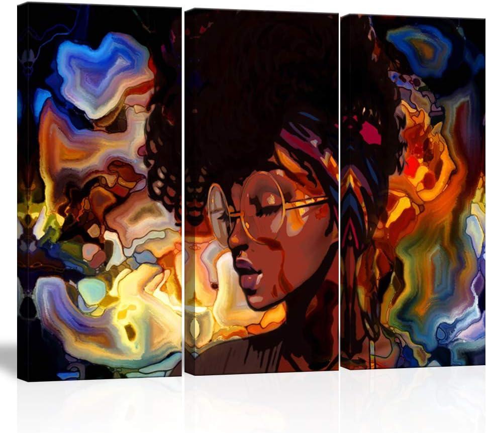 Black Woman Illustration Set Black Woman Cat Art Print African Girl Wall Art