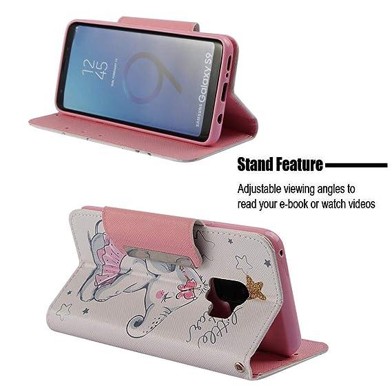 Amazon.com : Firefish Galaxy S9 Case, Durable Lightweight 3D Printing PU Leather Flip Inner Soft TPU Bumper Shockproof [Kickstand] Magnetic Closure Wallet ...