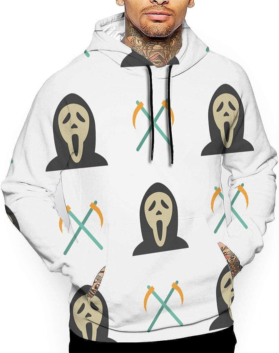 LOPEZ KENT Mens Hoodie Sweatshirt 3D Printed Halloween Ghost and Sickles Casual Pullover Hoodie with Pockets