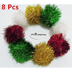 PetFavorites&Trade; Bushy Sparkle Ball Cat Toy, Interactive Glitter Pom Pom Cat Toy Balls for Kittens, 8 Pack.