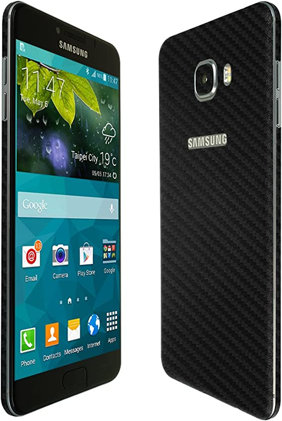 TechSkin with Anti-Bubble Clear Film Screen Protector Skinomi Black Carbon Fiber Full Body Skin Compatible with Samsung Galaxy Note 5 Full Coverage