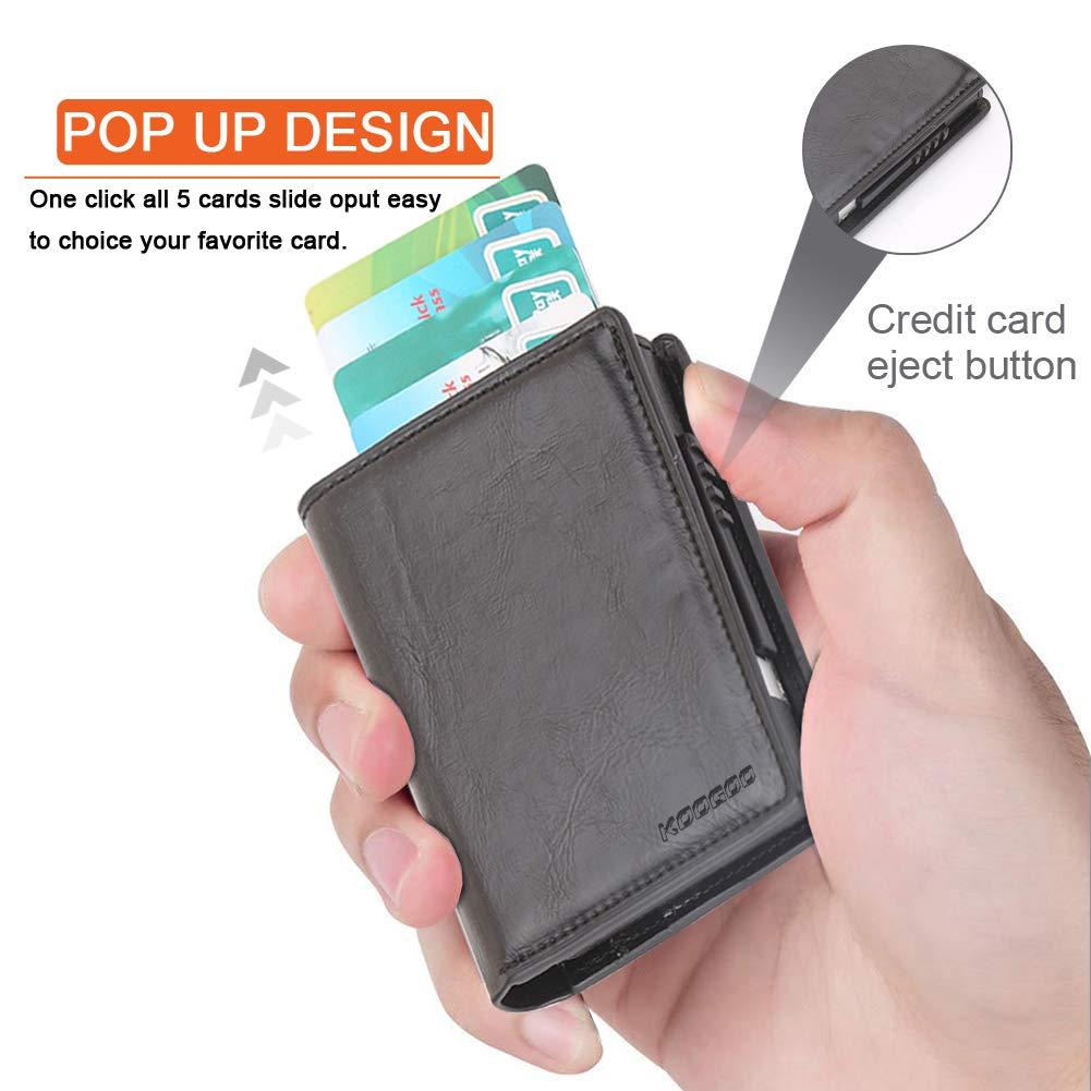 KOOGOO Cuero Tarjetero RFID Cartera Crédito,Slim y pequeña Portatarjetas extraíble para Identificación Tarjetas Crédito Licencia de Conducir,Cartera ...