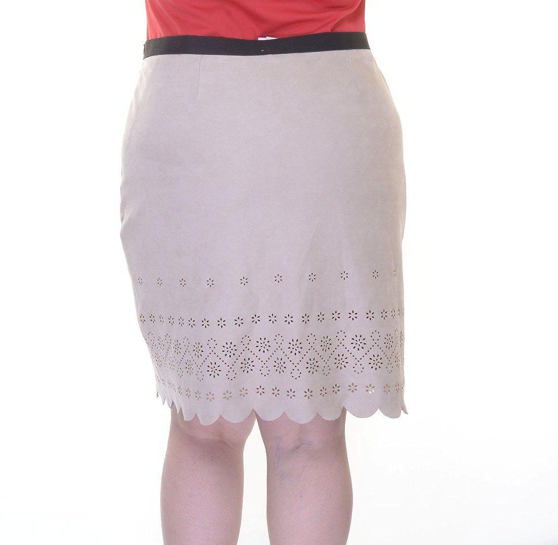 8cc8c0854c Karen Kane Women's Scallop Faux Suede Skirt Khaki Skirt at Amazon Women's  Clothing store: