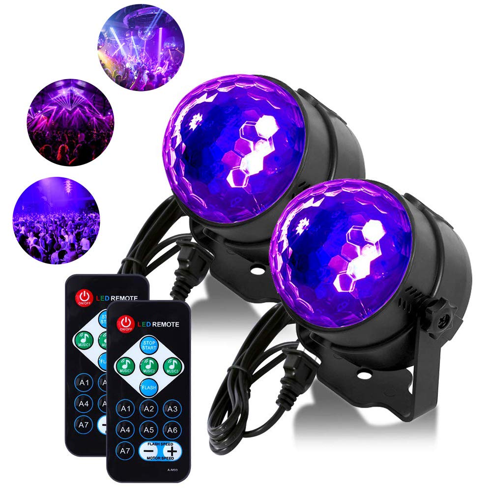 [2 Pack] Litake UV Black Lights 3W LED Disco Ball Party Lights Strobe Light Disco Lights, Sound Activated with Remote Control Dj Lights Stage Light for Festival Bar Club Party Wedding Show Home