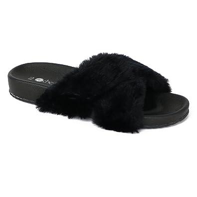 dc868be1885d6 Amazon.com | Chatties Women's Faux Fur Slide Sandals Casual Flat ...
