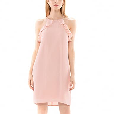 Nude dress summer NEW waterfall ruffles full lining party casual pink dresses for girls women summer
