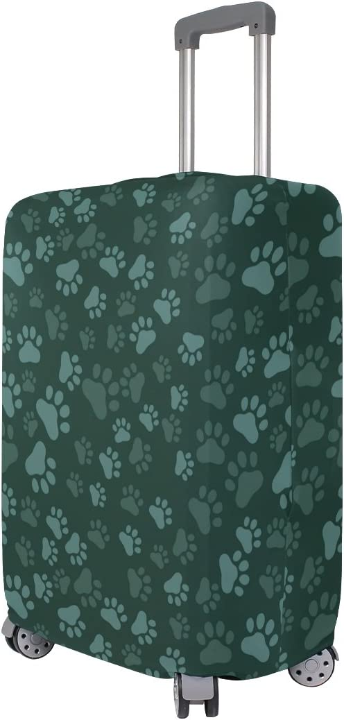 OREZI Luggage Protector Dog Paw Print Seamless Travel Luggage Elastic Cover Suitcase Washable and Durable Anti-Scratch Stretchy Case Cover Fits 18-32 Inches