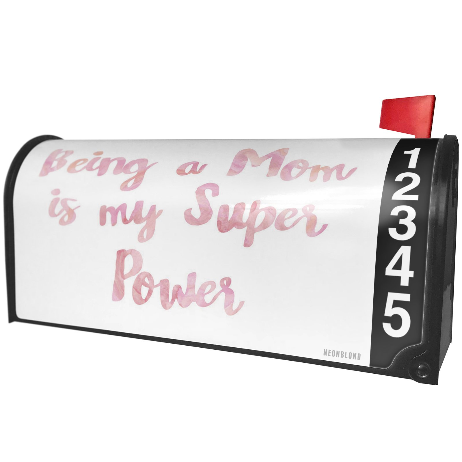 NEONBLOND Being a Mom is My Super Power Mother's Day Pink Watercolor Magnetic Mailbox Cover Custom Numbers