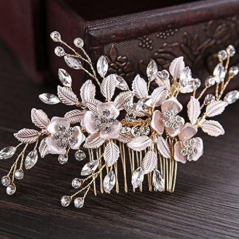 ZUXIANWANG Tiare Princesse Mariage,La Mode Vintage 2019 Gold