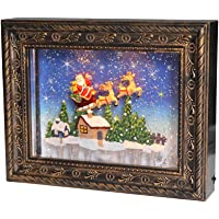DRomance Photo Frame Snow Globe Lighted with Musical and 6 Hour Timer, Battery Operated and USB Powered Swirling Glitter Christmas Picture Frame Snow Globe(9.5