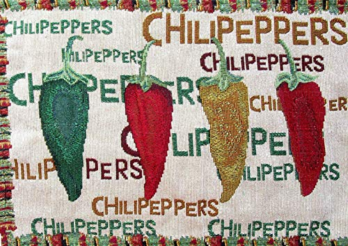 Everyday Woven Tapestry Place Mats - Set of 4 (Red, Green, and Yellow Chili Peppers with Border) by Everyday (Image #1)'