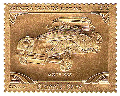 22K Carat Gold Leaf auto Classic Cars stamps MG TF 1955 / Bernera Islands-Scotland / MNH 1955 Golden Stamp