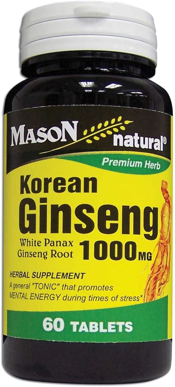3 Pack Special of Mason Natural Korean Ginseng 1000MG Tablets 60 per Bottle