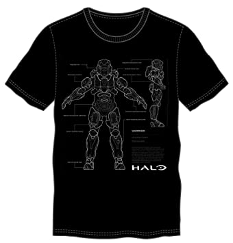 Halo Anatomy T Shirt Mjolnir Armour Black Cotton Amazoncouk Clothing
