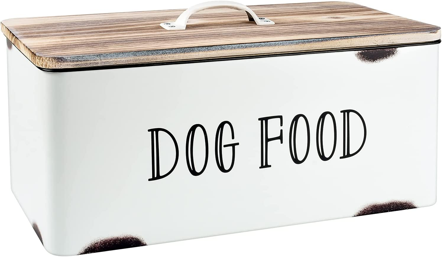 JIAYUAN Farmhouse Dog Food Storage Container White Dog Treat Dispenser Tin Pet Food Canister Bin with Wood Lid for Dogs Rustic